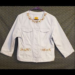 Ruby Rd. Buttoned 3/4 Sleeve Pocketed Jacket 12P